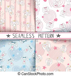 Cute little princess - seamless pattern.