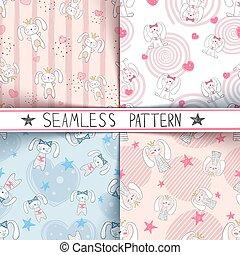 Cute little princess - seamless pattern.