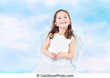 Cute little princess with wide smile