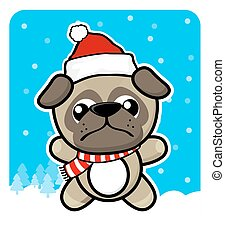 cute little pug with santa hat