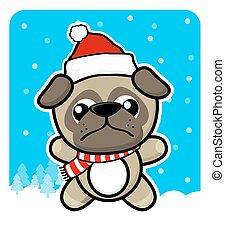 cute little pug with santa hat