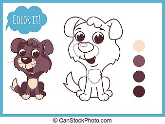 Cute little puppy. Cartoon vector character isolated on a white background with black outline.