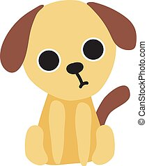 Cute little puppy, illustration, vector on white background.
