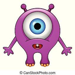 Cute little purple cartoon monster on white background