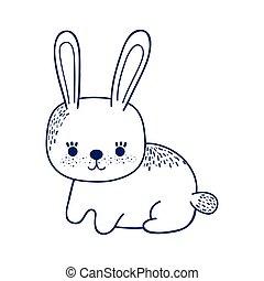 cute little rabbit animal cartoon isolated icon design line style
