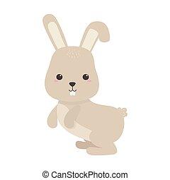 cute little rabbit animal cartoon isolated icon design