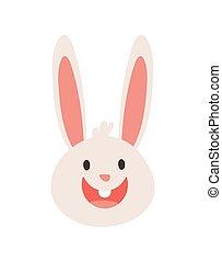 cute little rabbit head happy character