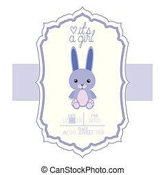 cute little rabbit in its a boy card