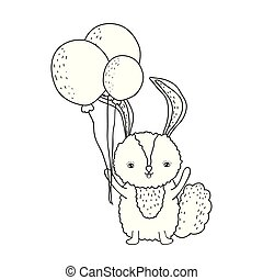 cute little rabbit with balloons helium