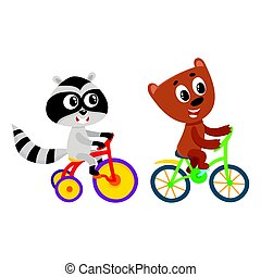 Cute little raccoon and bear characters riding bicycles...