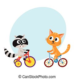 Cute little raccoon and cat characters riding bicycles...