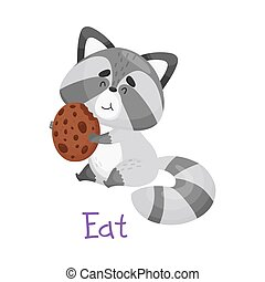 Cute Little Raccoon Eating Cookie With Handwritten Inscription Eat Vector Illustration Cartoon Character