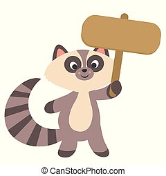 Cute Little Raccoon Holding a Banner Sign Kawaii Style Flat Vector Illustration Isolated on White