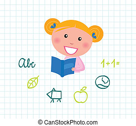 Cute little reading School Girl with Book. Vector Illustration.