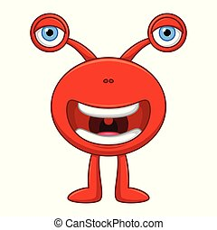 Cute little red cartoon monster on white background