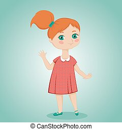 little red-haired girl - cute little red-haired girl in red...