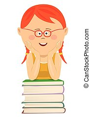 Cute little red-haired nerd girl with glasses leans on stack of books over white background