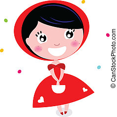 Cute little red riding hood isolated on white - Cartoon red...