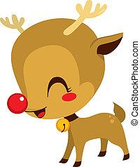 Cute Little Rudolph Reindeer - Illustration of cute little...