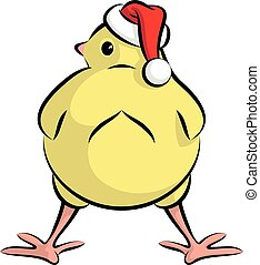 Cute Little Santa Chick Going To Christmas Party - Vector...