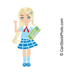 Cute little schoolgirl with books