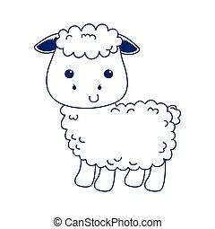 cute little sheep animal cartoon isolated icon design line style