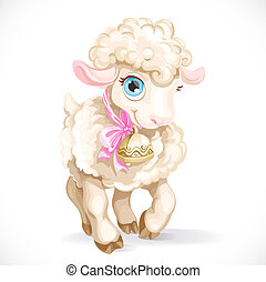 Cute little sheep isolated on a white background