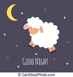 Cute little sheep on the night sky. Good night. vector illustration