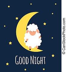 Cute little sheep on the night sky. Good night. vector illustration.