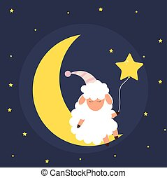 Cute little sheep on the night sky. Sweet dreams. vector illustration