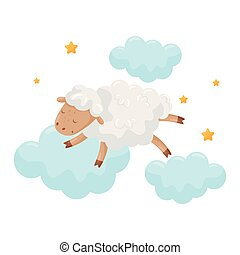 Cute little sheep sleeping on a cloud, lovely animal cartoon character, good night design element, sweet dreams vector Illustration