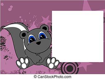 cute little skunk cartoon frame
