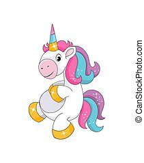 Cute little smiling unicorn isolated on white background. Kids drawing style