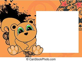 cute little squirrel cartoon frame