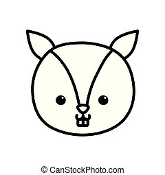 cute little squirrel head animal cartoon thick line