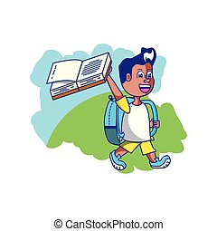 cute little student boy with book open