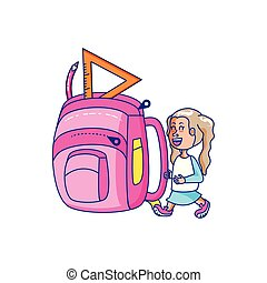 cute little student girl with school bag
