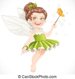 Cute little summer fairy girl with a Magic wand isolated on a white background