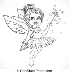 Cute little summer fairy girl with a Magic wand outline isolated on a white background