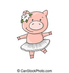 Cute little Sweet charming cartoon dancing girl piggy.