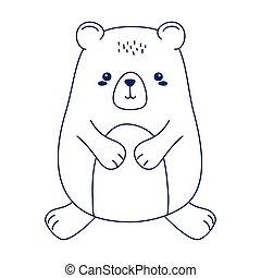 cute little teddy bear animal cartoon isolated icon design line style