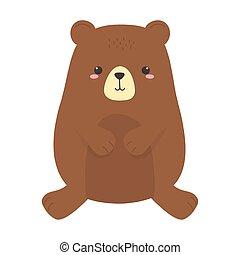 cute little teddy bear animal cartoon isolated icon design