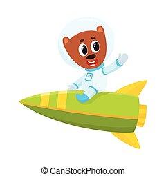 Cute little teddy bear astronaut, spaceman character riding a rocket