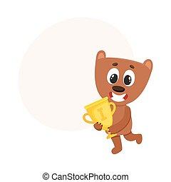 Cute little teddy bear character, champion holding golden winner cup