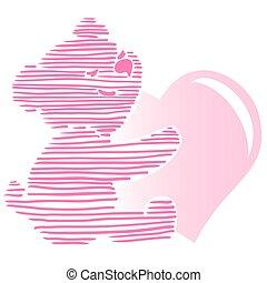 Cute Little Teddy Bear Holding Heart