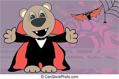 cute little teddy bear hug dracula costume halloween backgorund