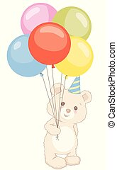 Cute Little Teddy Bear Standing Holding Balloons with Birthday Hat