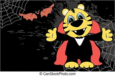 cute little tiger hug dracula costume halloween backgorund