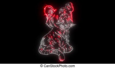 cute little tiger laser animation - cute little tiger...