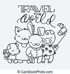 Cute little tourist animals, cartoon hand drawn vector illustration. Cute for baby coloring pages, t-shirt print and other